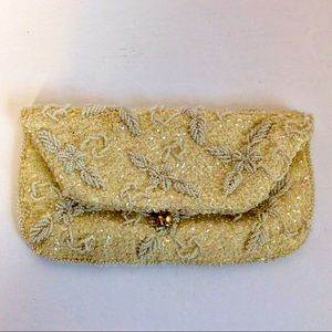 Hand beaded vintage clutch snap closure